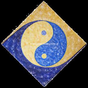 Opera Geometria Sacra con simbolo Yin e Yang azzurro giallo su sfondo blu. Regalo per equilibrio e armonia.