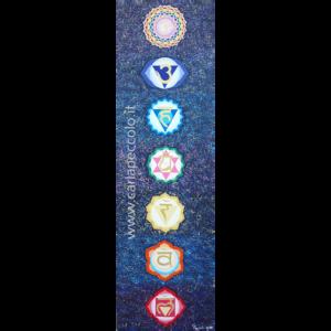 Opera con simboli dei 7 Chakra su sfondo blu. Regalo o acquisto per meditazione e armonizzazione energetica.