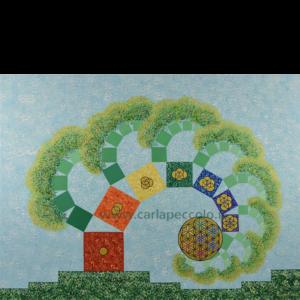 Opera in geometria sacra con albero con spirale frattale Fibonacci e simbolo Fiore della Vita. Colori arcobaleno. Regalo per evoluzione della Coscienza.