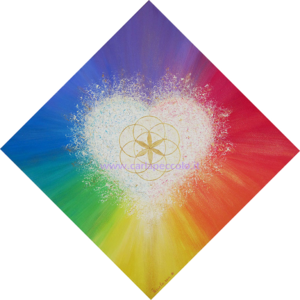 Opera con simbolo seme della vita dorato, nel cuore bianco su sfondo arcobaleno. Regalo per attivare l'energia vitale dell'amore.