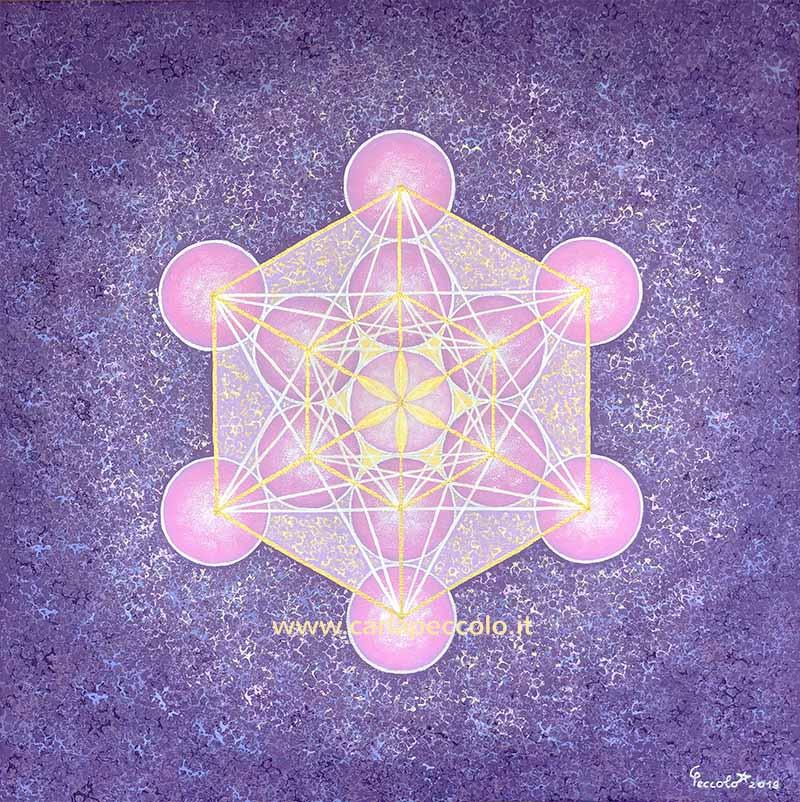 Opera in geometria sacra con Cubo di Metatron in rosa, giallo, viola e oro. Favorisce la trasformazione, trasmutazione personale e Spirituale.