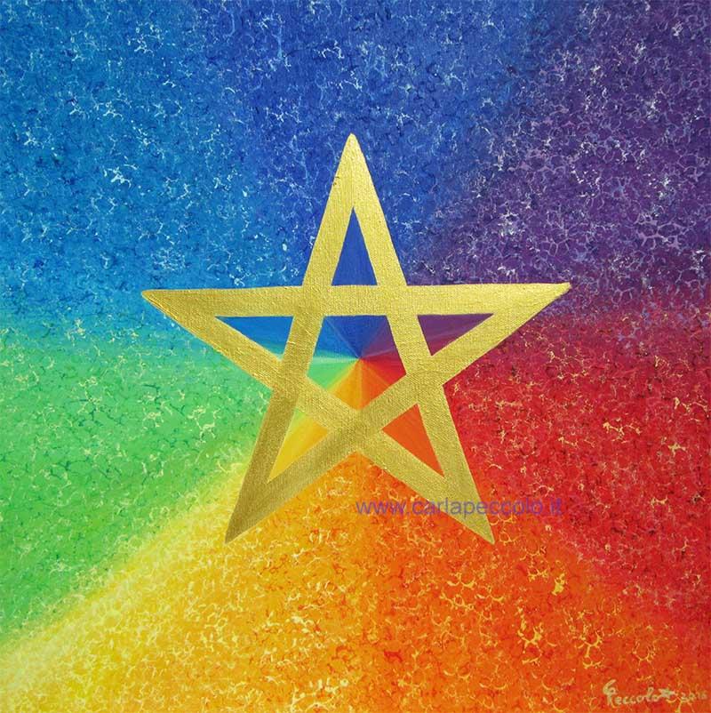 Opera in Geometria Sacra con simbolo Stella dorata a cinque punte. Sullo sfondo i 7 colori dell'arcobaleno donano gioia ed energia vitale.