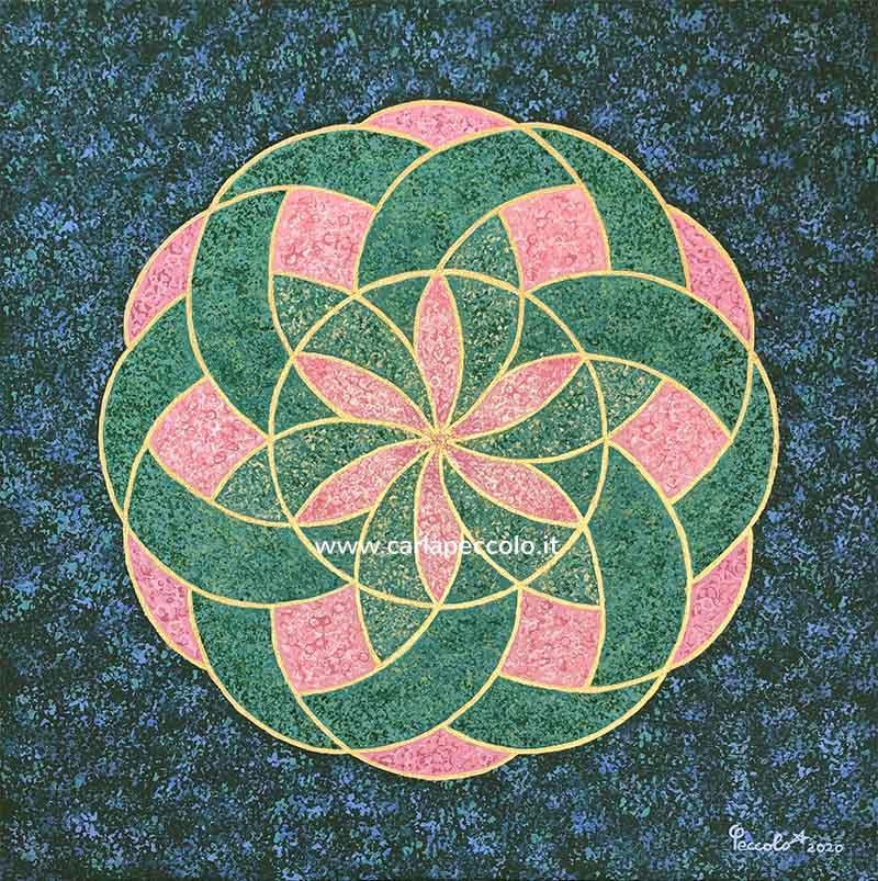 Opera con Toroide verde, rosa e oro in geometria sacra. Le sue vibrazioni stimolano il risveglio dell'energia vitale e dell'amore.