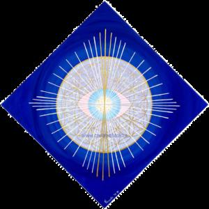 Opera in geometria sacra con Fiore della Vita e Occhio Divino. Le alte frequenze dei simboli e colori indaco, oro e argento aiutano il risveglio Spirituale.